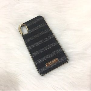 Kate Spade Glitter Striped iPhone XR Case, Black